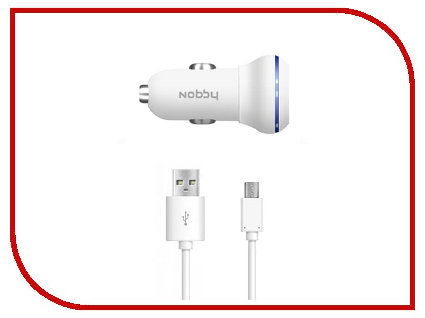 Зарядное устройство Nobby Energy 2xUSB 1A/2A + microUSB AC-002 White<br>