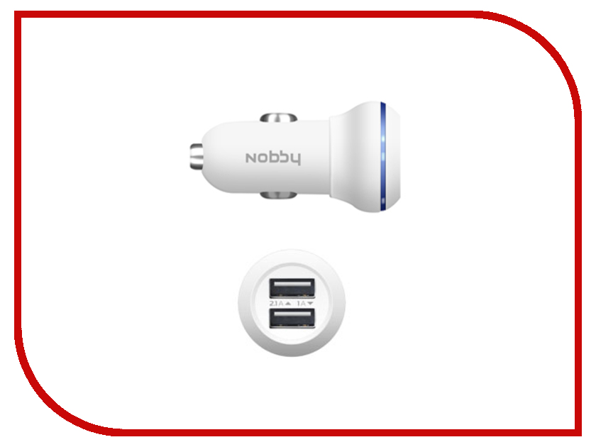 �������� ���������� Nobby Energy 2xUSB 1A/2A AC-002 White