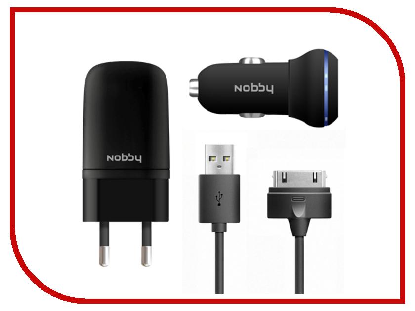 Зарядное устройство Nobby Energy USB 1A + 30pin SC-001 + AC001 Black сетевое + автомобильное<br>