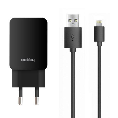 Зарядное устройство Nobby Energy SC-002 2USB 1A/2A + Кабель iPhone/iPad (8pin) Black