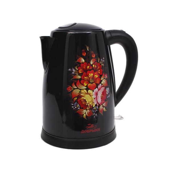 Чайник Добрыня DO-1219 Хохлома Black цена и фото