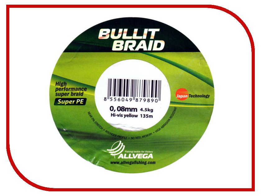 Леска Allvega Bullit Braid 135m 0.08mm Bright Yellow
