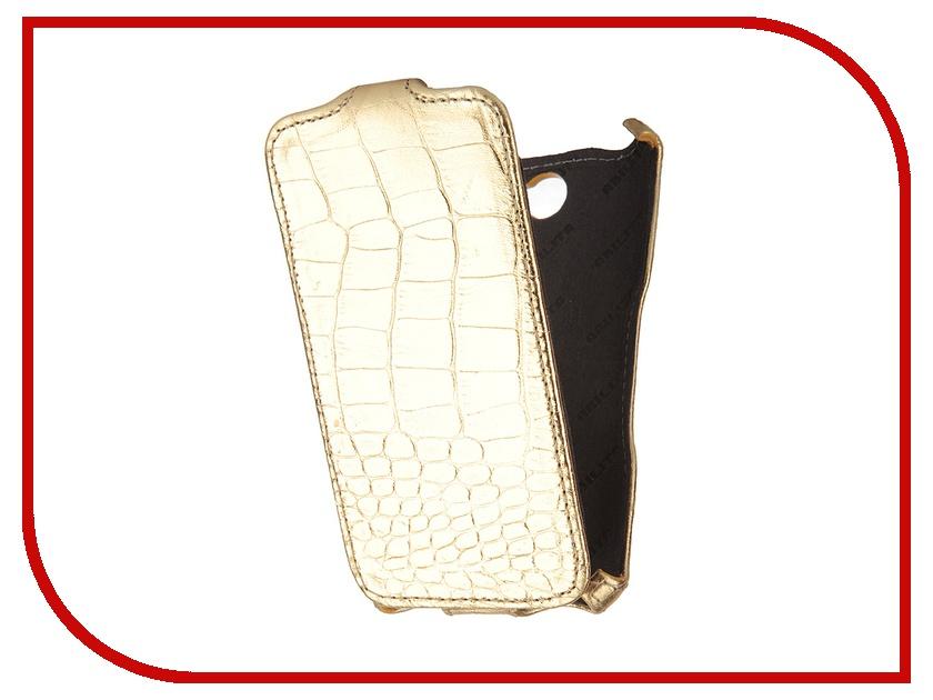 Аксессуар Чехол Abilita for Sony Xperia E4 кожаный Gold Crocodile ASONYXPE4