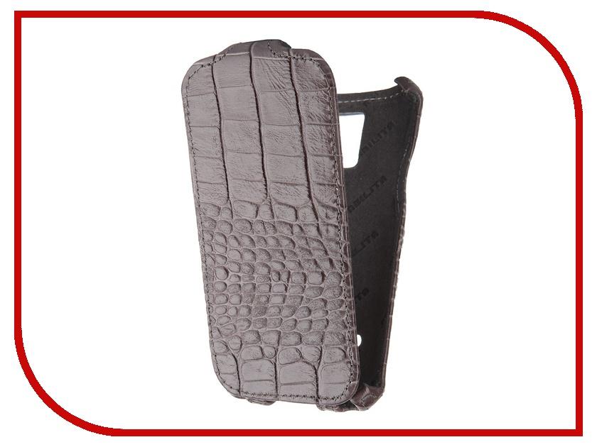 Аксессуар Чехол Abilita for Samsung SM-G800F Galaxy S5 mini кожаный Grey Crocodile ASAMGS5MINI<br>