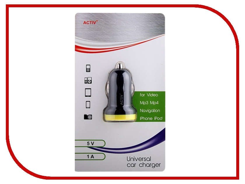Зарядное устройство Activ CAU1-1A-01 1000 mAh Black-Yellow 35986