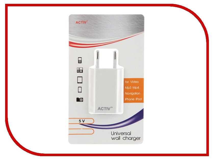 Зарядное устройство Activ TAU1-1.0A-02 1A White 36012