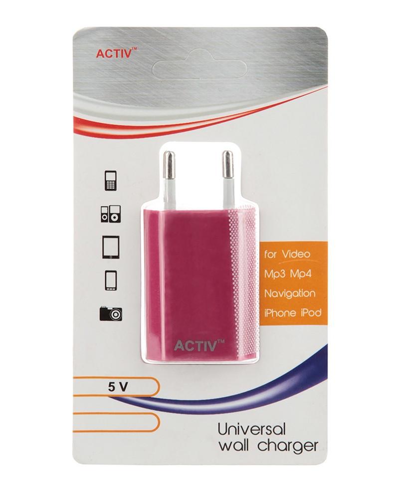 Зарядное устройство Activ TAU1-1.5A-02 1.5A Pink 36015