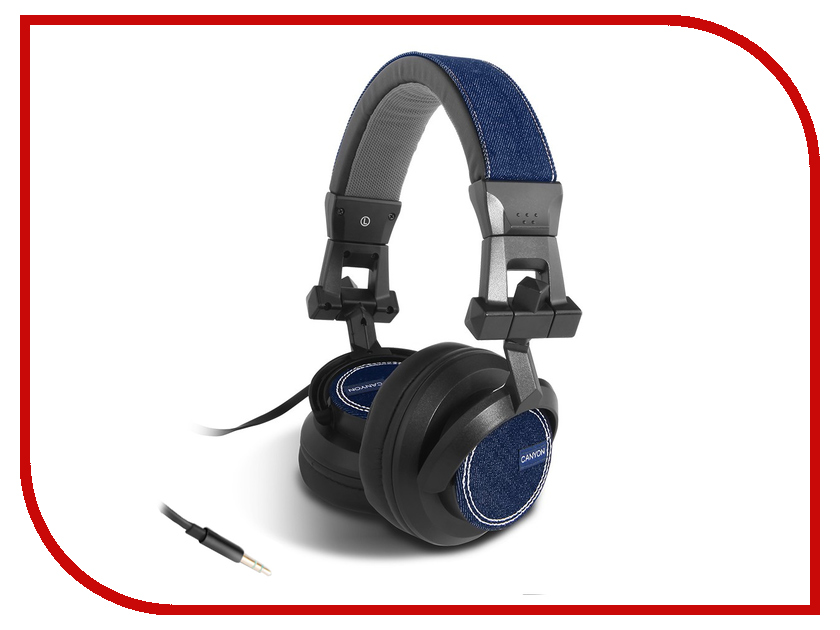 Гарнитура Canyon Jeans Headphones Black-Blue Jeans CNS-HHP1<br>