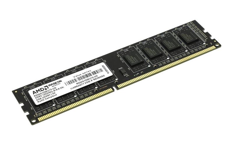 Модуль памяти AMD DDR3 DIMM 1333MHz PC3-10600 - 4Gb R334G1339U1S-UO
