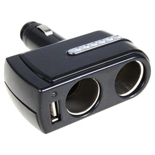 Аксессуар Разветвитель прикуривателя на 2 гнезда и 1 USB Intego C-01 Black