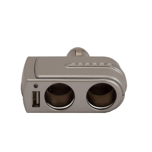 Аксессуар Разветвитель прикуривателя на 2 гнезда и 1 USB Intego C-01 Silver