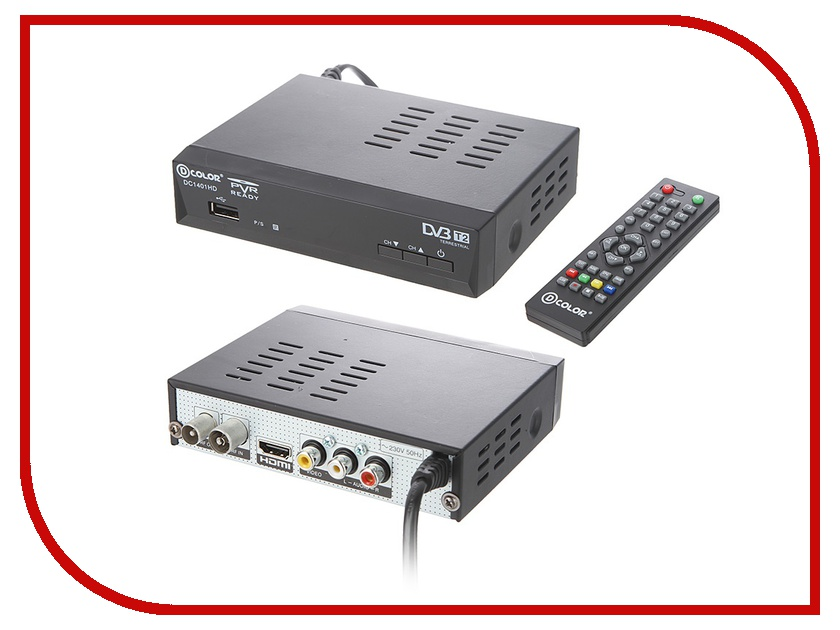 Тюнер D-Color DVB-T2 DC1401HD Black<br>