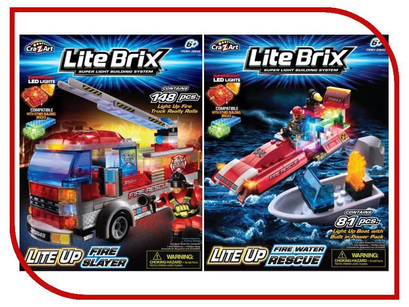 Игрушка Lite Brix Пожарная машина 35849 / Спасатели на воде 35843<br>
