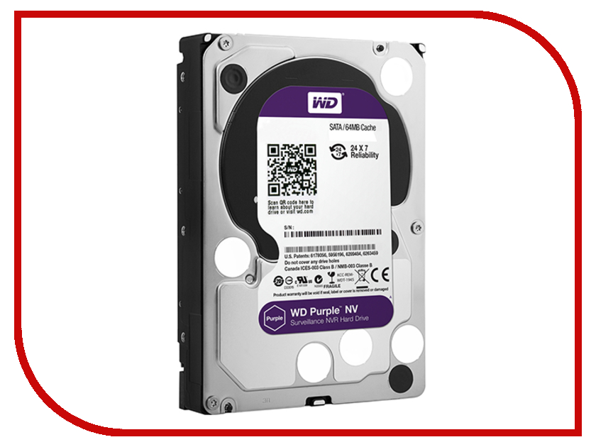 Жесткий диск 6Tb - Western Digital Purple NV WD6NPURX wd 3tb purple wd30purx