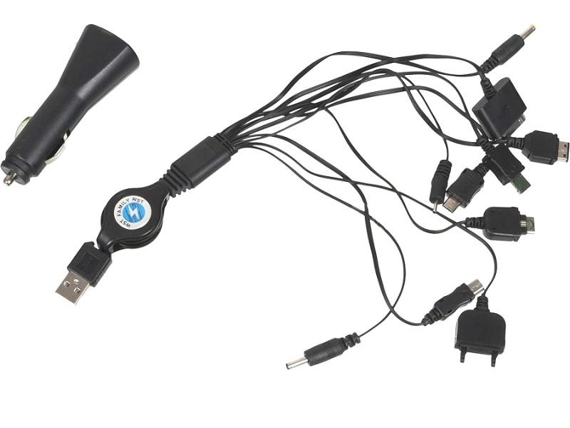 Зарядное устройство WIIIX CS008 NEW со сменными разъемами для iPhone 4/5/6/ Samsung / LG / Sony / HTC - автомобильное, универсальное<br>