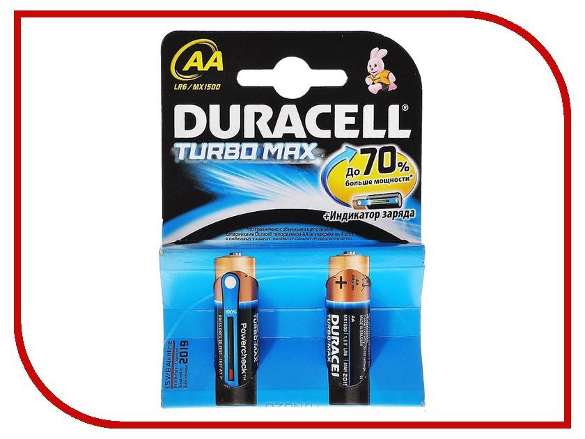 Батарейка AA - Duracell Turbo MAX LR6-MN1500 (2 штуки) батарейка duracell lr6 mn 1500 4bl basic aa