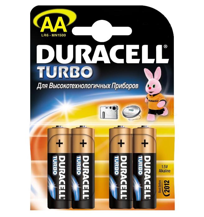 Батарейка AA - Duracell Turbo MAX LR6-MN1500 / MX1500 NEW (4 штуки) батарейка duracell turbo max lr6 8bl 8 шт aa