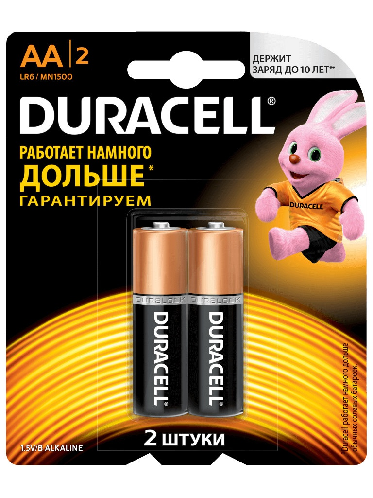 Батарейка AA - Duracell LR6-MN1500 (2 штуки) цена 2017