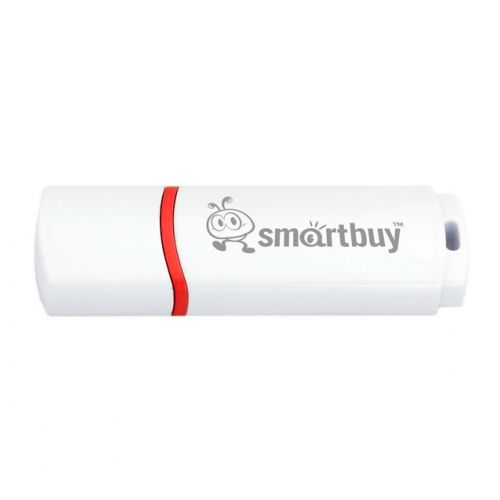 USB Flash Drive 8Gb - Smartbuy Crown White SB8GBCRW-W mushroom shaped rubber aluminum alloy usb 2 0 flash drive red white 8gb