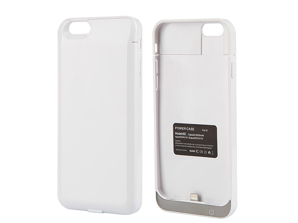 Аксессуар Чехол-аккумулятор Aksberry 6D 5000 mAh для iPhone 6 White
