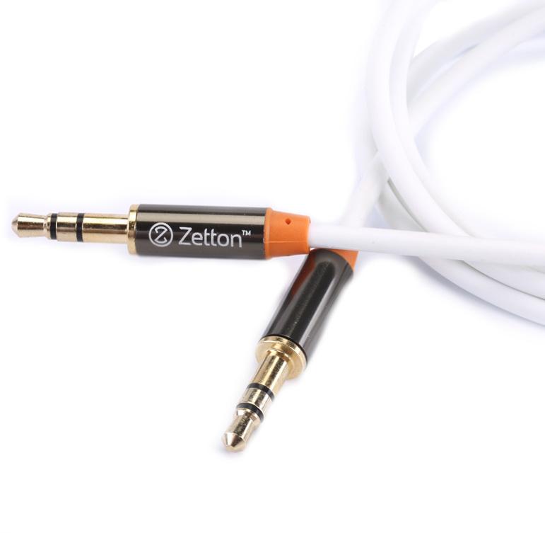 Аксессуар Zetton AUX Metal 3.5 Jack/M - 3.5 Jack/M White ZTLSAUX1BW