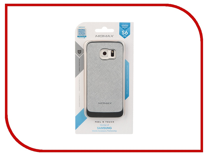 Аксессуар Чехол-накладка Samsung G925F Galaxy S6 Edge MOMAX Feel n Touch Case Silver FTSAS6EPUS<br>