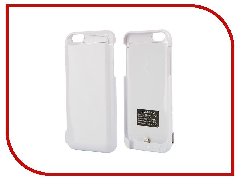 Аксессуар Чехол-аккумулятор Aksberry 6GA-2 7000 mAh для iPhone 6 White аксессуар чехол аккумулятор aksberry 6pc 4000 mah для iphone 6 plus gold