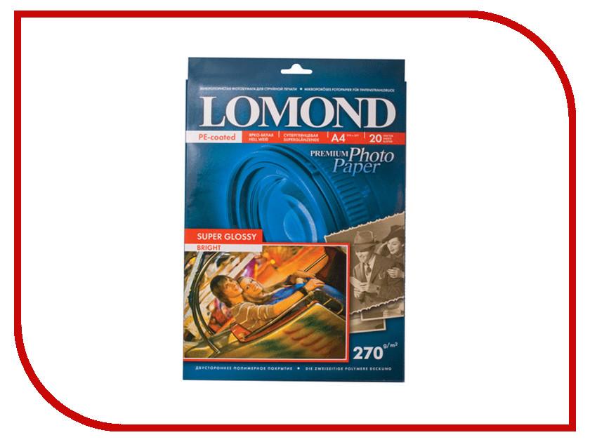 Фотобумага Lomond 1106100 глянцевая 270g/m2 A4 Super Glossy односторонняя 20 листов