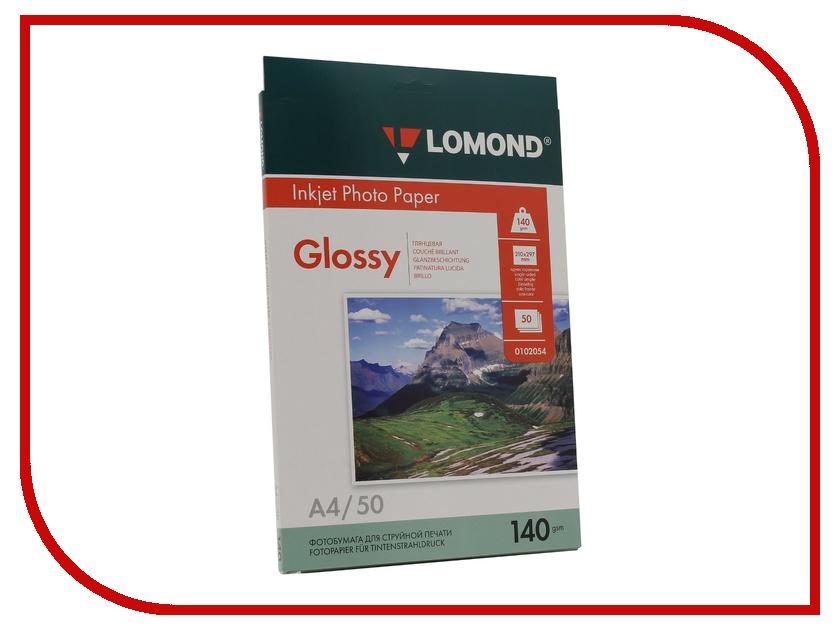 Фотобумага Lomond 0102054 глянцевая 140g/m2 A4 односторонняя 50 листов фотобумага lomond 0102066 глянцевая 140g m2 a3 односторонняя 50 листов