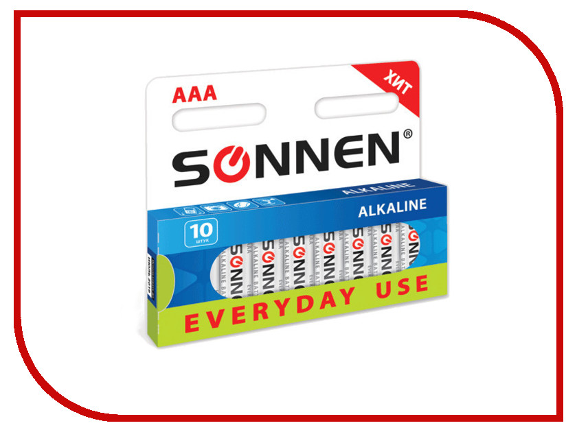 Батарейка AA - SONNEN 451086 LR6 Everyday use (10 штук)<br>