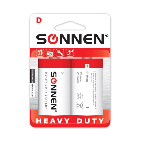 Батарейка D - SONNEN 451100 R20 Heavy Duty (2 штуки)