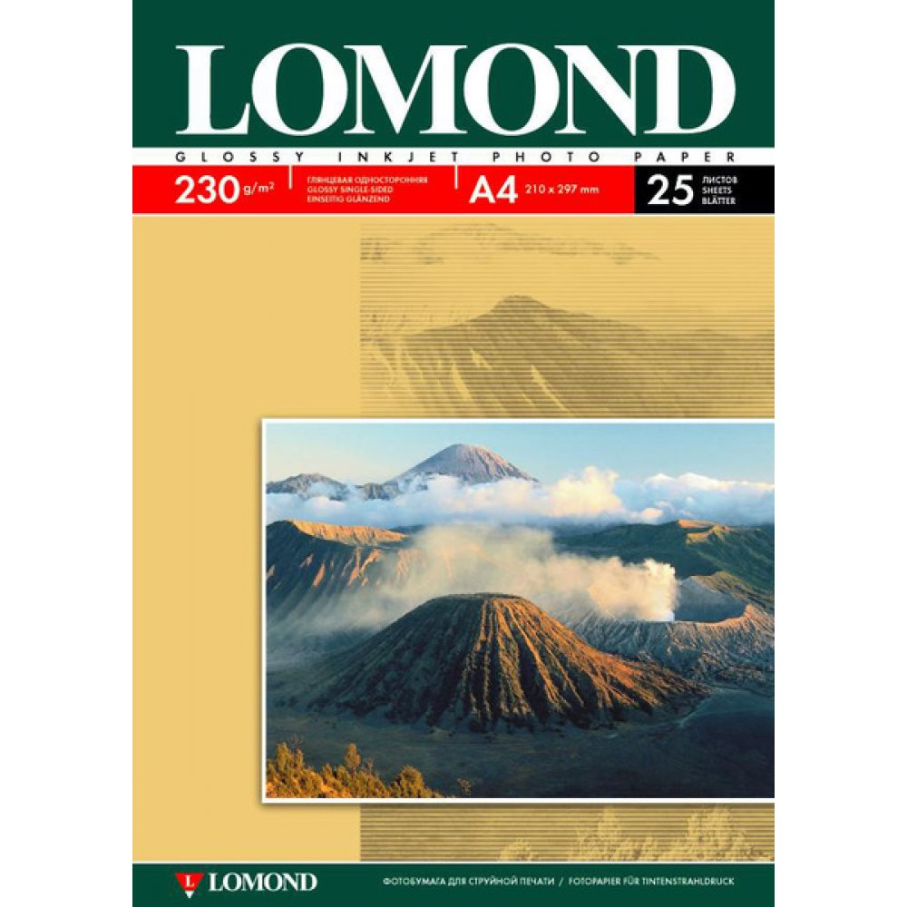 Фотобумага Lomond A4 230g/m2 глянцевая 25 листов 102049