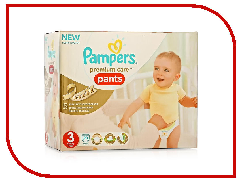 Подгузники Pampers Premium Care Midi 6-11кг 28шт 4015400681175