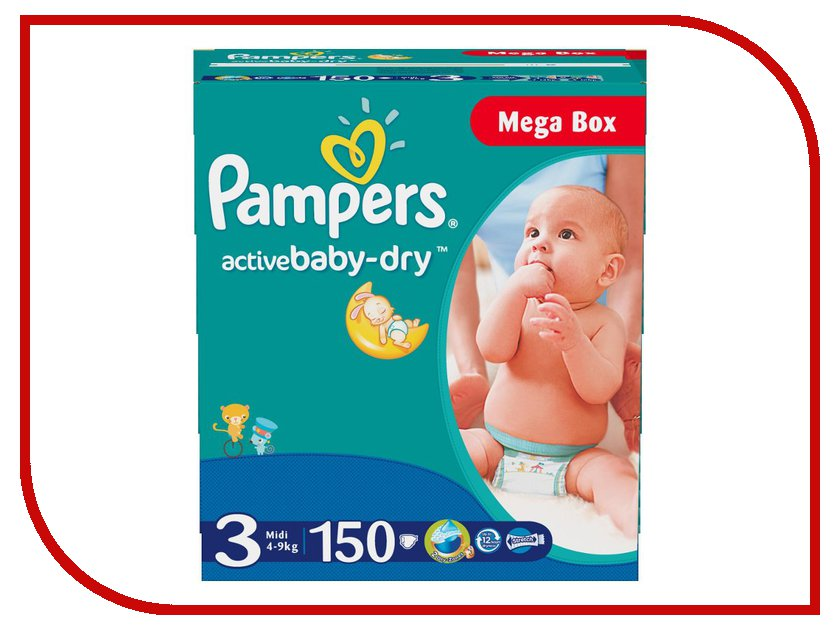 Подгузники Pampers Active Baby-Dry Midi 4-9кг 150шт 4015400265207<br>
