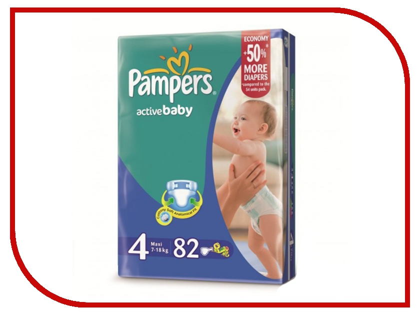 Подгузники Pampers Active Baby-Dry Maxi 7-14кг 82шт 4015400265177<br>