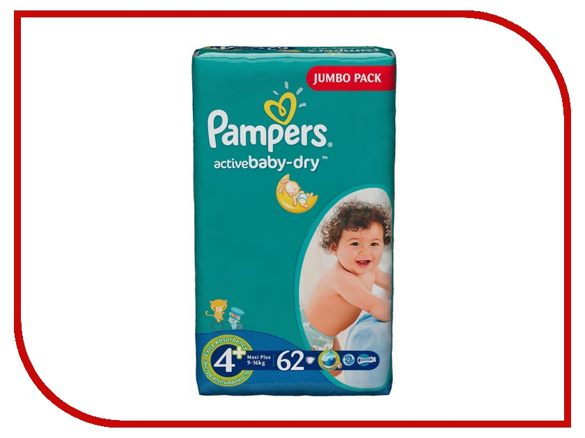 ���������� Pampers Active Baby-Dry Maxi Plus 9-16�� 62�� 4015400264774