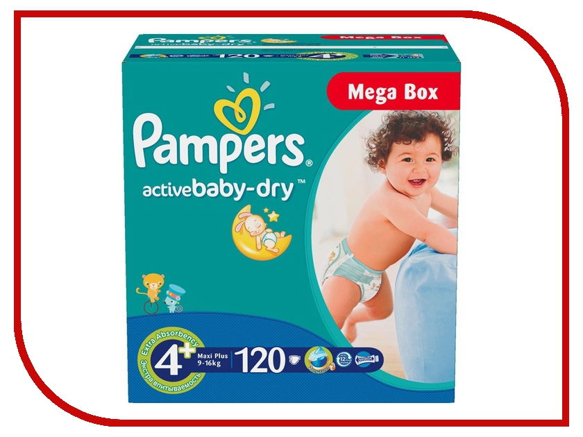 Подгузники Pampers Active Baby-Dry Maxi Plus 9-16кг 120шт 4015400264972<br>