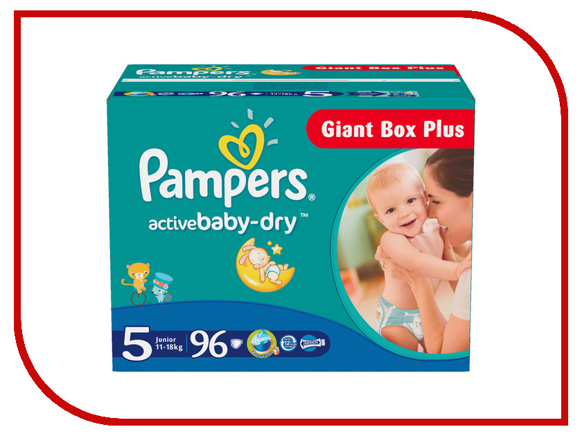 Подгузники Pampers Active Baby-Dry Junior 11-18кг 96шт 4015400612698<br>