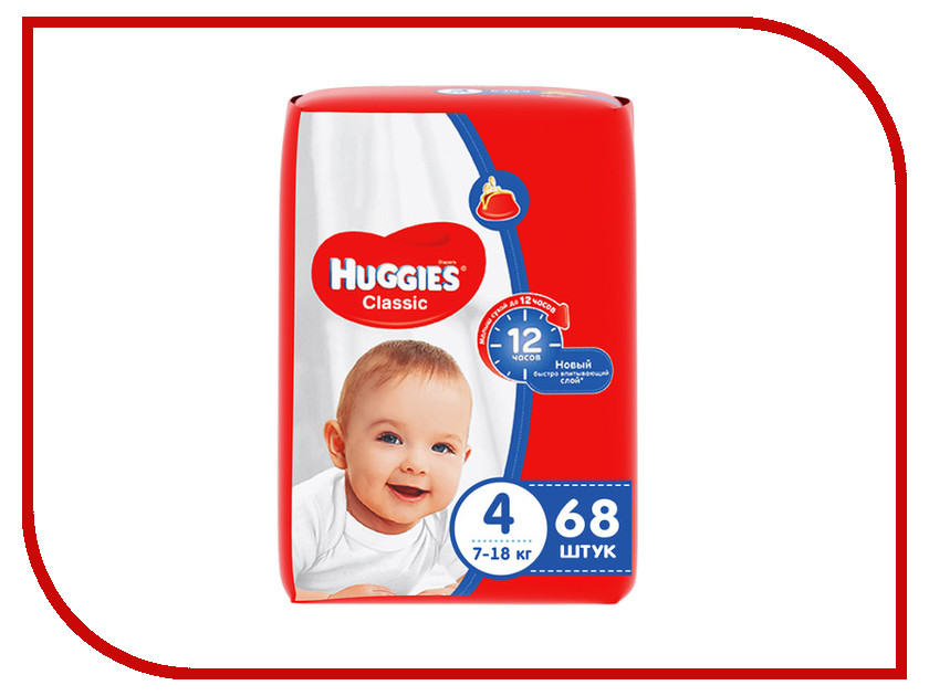 Подгузники Huggies Classic 4 7-18кг 68шт 2603357241