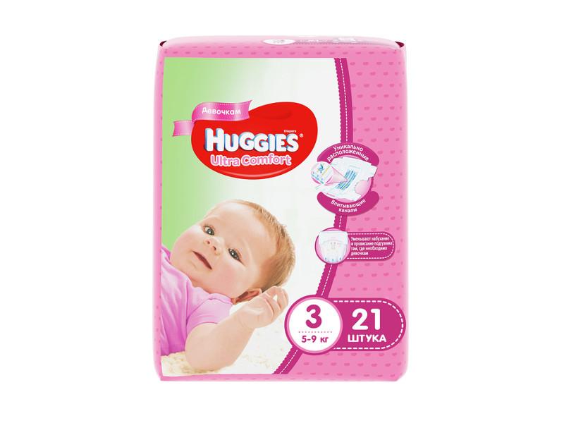 Подгузники Huggies Ultra Comfort 3 5-9кг 21шт для девочек huggies подгузники ultra comfort размер 3 5 9кг 80шт для девочек