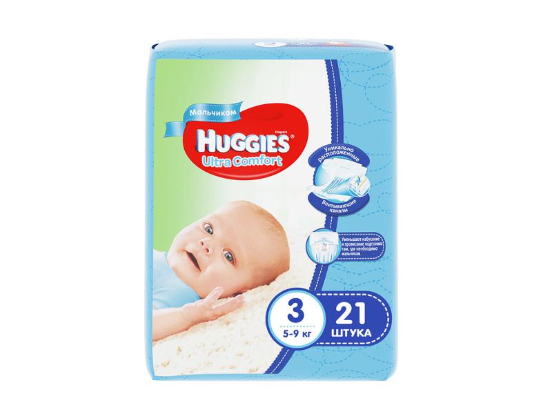 Подгузники Huggies Ultra Comfort 3 5-9кг 21шт для мальчиков huggies подгузники ultra comfort размер 3 5 9кг 80шт для девочек