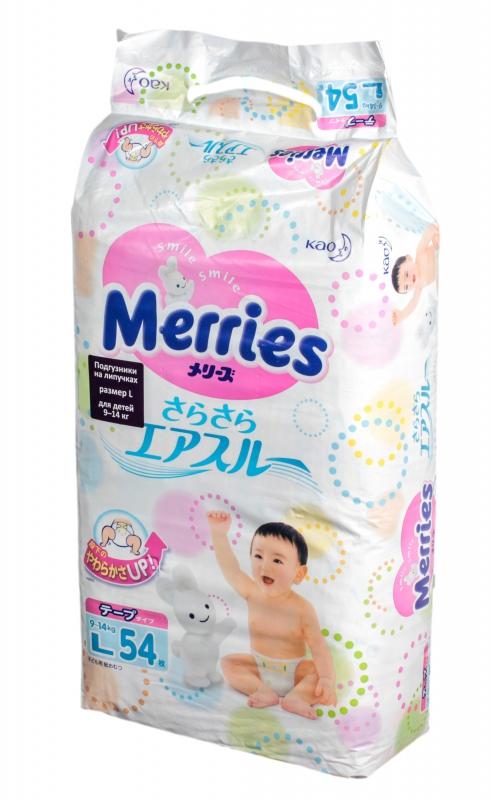 Подгузники Merries L 9-14кг 54шт 62020307 подгузники kao merries m64