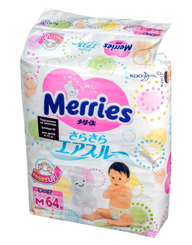 Подгузники Merries M 6-11кг 64шт 62020308 подгузники kao merries m64
