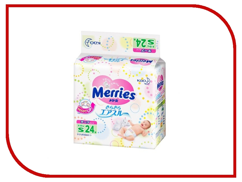 Подгузники Merries S 4-8кг 24шт 62020402<br>