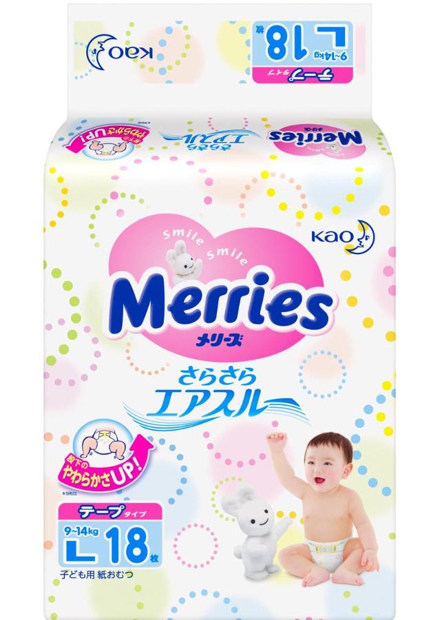 цена Подгузники Merries L 9-14кг 18шт 62020404 онлайн в 2017 году