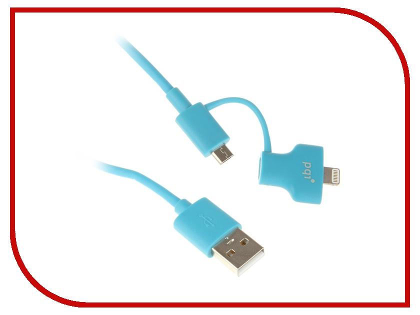 Аксессуар PQI USB to Lightning/MicroUSB 90cm для iPhone/iPad/iPod Blue PQI-iCABLE-DuPlug90-BL аксессуар yoobao usb type c microusb lightning yb 453 gold