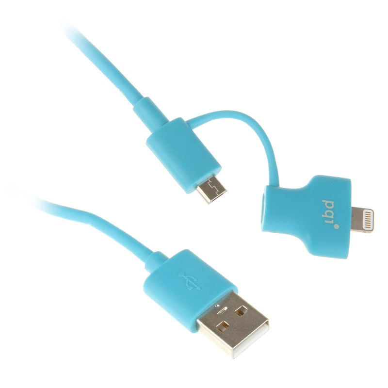 Аксессуар PQI USB to Lightning/MicroUSB 90cm для iPhone/iPad/iPod Blue PQI-iCABLE-DuPlug90-BL