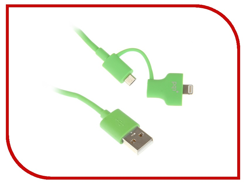 Аксессуар PQI USB to Lightning/MicroUSB 90cm для iPhone/iPad/iPod Green PQI-iCABLE-DuPlug90-GN pqi 6ppu 12ir0004a