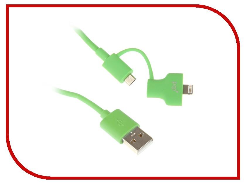 Аксессуар PQI USB to Lightning/MicroUSB 90cm для iPhone/iPad/iPod Green PQI-iCABLE-DuPlug90-GN аксессуар yoobao usb type c microusb lightning yb 453 gold