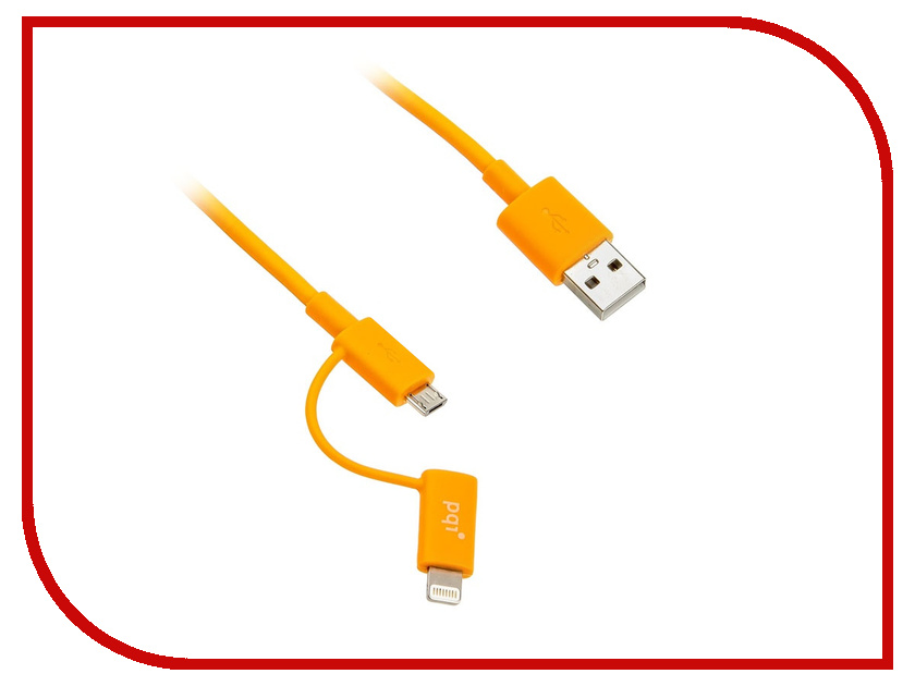 Аксессуар PQI USB to Lightning/MicroUSB 90cm для iPhone/iPad/iPod Orange PQI-iCABLE-DuPlug90-OR аксессуар x flash microusb lightning 30p xf cubb109 45655